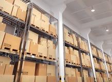 有许多机架和箱子的仓库 库存图片