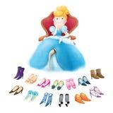 有许多鞋子的灰姑娘 库存照片