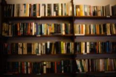 有许多diffirent书的一个大内部室家庭书库 对木架子的正面图用书bookshe的大数填装了 免版税库存图片