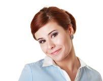 有讽刺微笑的妇女 免版税库存照片