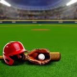 有设备和拷贝空间的棒球场 库存照片