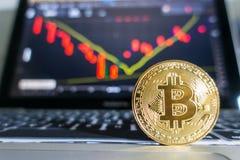 有证券交易所图表backgro的金黄Bitcoin膝上型计算机键盘 免版税库存图片