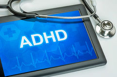 有诊断adhd的片剂 免版税库存图片