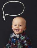 有词泡影的婴孩 免版税库存照片