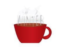 有词的冬天红色杯 免版税库存图片