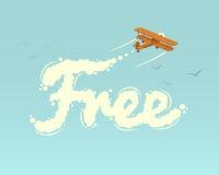 有词的双翼飞机释放 皇族释放例证