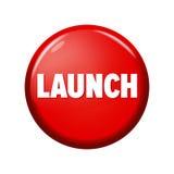 有词`发射`的光滑的红色圆的按钮 库存图片