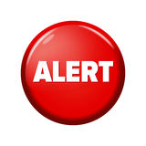 有词`戒备`的光滑的红色圆的按钮 库存图片