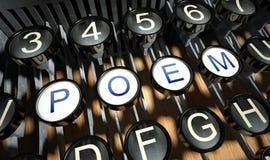 有诗按钮的打字机,葡萄酒 免版税库存图片