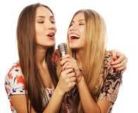 有话筒的获得两个秀丽的女孩唱和乐趣 库存照片