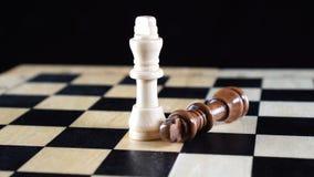 有说谎在它的边和白国王的被征服的黑棋子的两位棋国王站立挺直 影视素材