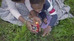 有说谎在草的短发的逗人喜爱的非裔美国人的妇女在有她的使用与塑料变压器玩具的儿子的公园 影视素材