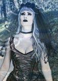 有调查另一个世界的面纱的哥特式女孩 免版税图库摄影