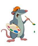 有调色板和刷子的老鼠艺术家 库存照片