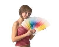 有调色板的女性 图库摄影