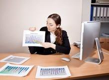 有财政报告的女实业家在办公室 图库摄影