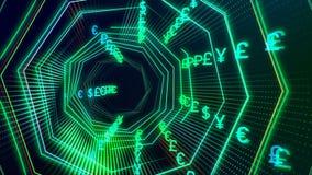有货币小河圈的未来派无缝的技术网际空间隧道 库存例证