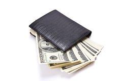 有货币的皮革钱包 库存照片