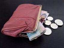 有货币的钱包 库存照片