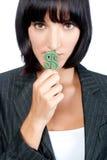 有货币符号的女实业家 免版税库存图片