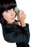 有货币符号的女实业家 图库摄影