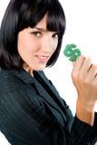 有货币符号的女实业家 免版税库存照片