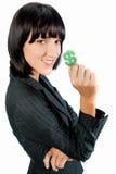 有货币符号的女实业家 库存照片