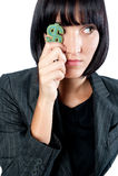 有货币符号的女实业家 免版税图库摄影