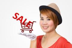 有购物概念的亚裔妇女 免版税库存图片