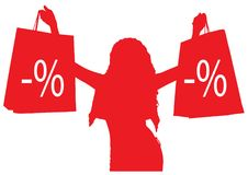 有购物的等高女孩 贴现 免版税库存照片