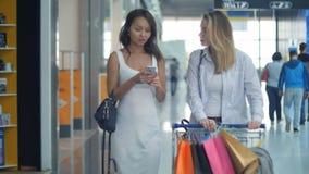 有购物车的两个少妇使用智能手机和谈话 免版税图库摄影