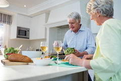 有资深的夫妇膳食一起 免版税库存照片