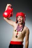 有赢取的滑稽的拳击手 免版税库存照片