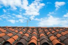 有赤土陶器瓦片的屋顶在迈阿密,美国 在多云蓝天的瓦片屋顶 建筑学和设计 与c陶瓷盖子的屋顶  免版税库存照片