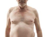 有赤裸躯干的老人 库存图片