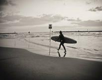 有走在海滩的委员会的年轻女性冲浪者,反射在水,在多云天空下 图库摄影