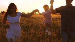 有走在领域的妈妈和爸爸的愉快的孩子用在光芒的麦子金黄日落和笑 股票视频