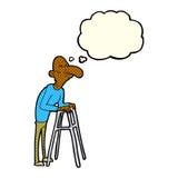 有走的框架的动画片老人与想法泡影 库存图片