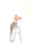 有走的框架的动画片老人与想法泡影 免版税库存图片