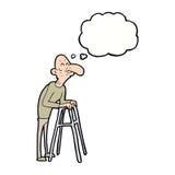 有走的框架的动画片老人与想法泡影 免版税图库摄影