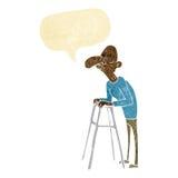有走的框架的动画片老人与讲话泡影 免版税库存图片