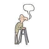 有走的框架的动画片老人与讲话泡影 库存图片