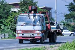 有起重机的私有卡车 免版税库存图片