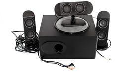 有超低音扬声器的黑扩音器 免版税库存照片
