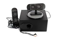有超低音扬声器的黑扩音器 免版税库存图片