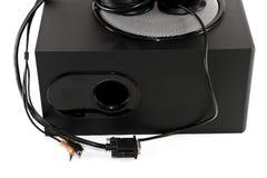 有超低音扬声器的黑扩音器 库存照片