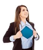 有超级英雄态度的女实业家 库存照片