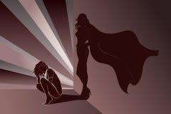 有超级英雄的阴影的哀伤的妇女在墙壁上 免版税库存图片