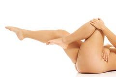 有超重的妇女腿 库存照片