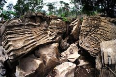有趣的岩石停放与棕色颜色做可爱的石公园 免版税库存照片